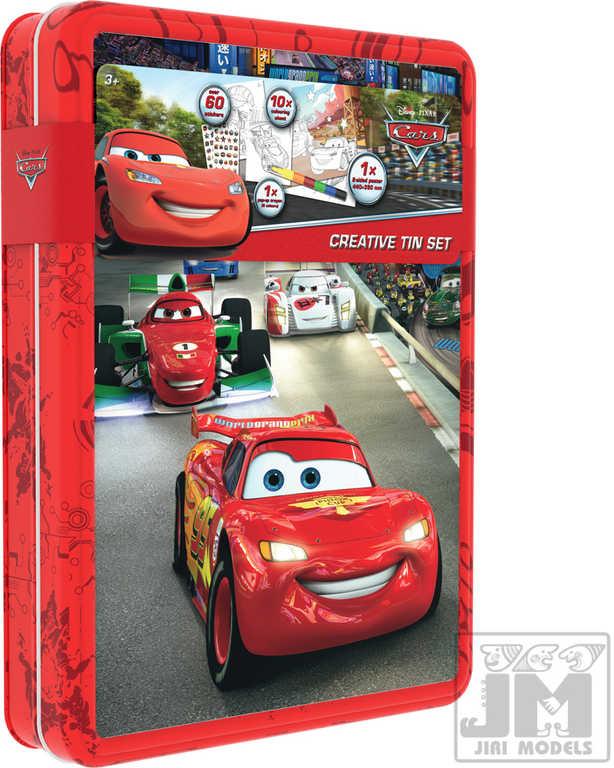 JIRI MODELS Kreativní plechovka CARS (Auta) set s plakátem a samolepkami