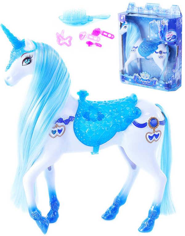 Kůň česací plastový modro-bílý set s doplňky na baterie Světlo Zvuk