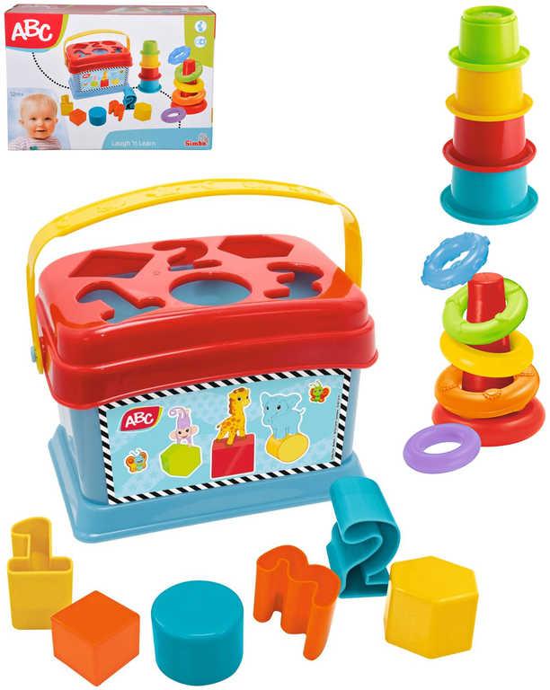 SIMBA Baby set na hraní 3v1 navlékací pyramida a vkládací box