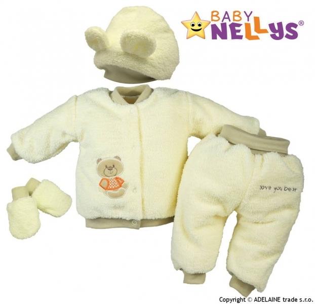 Chlupáčkový komplet Sweet Bear Baby Nellys ® - krémový - 68 (4-6m)