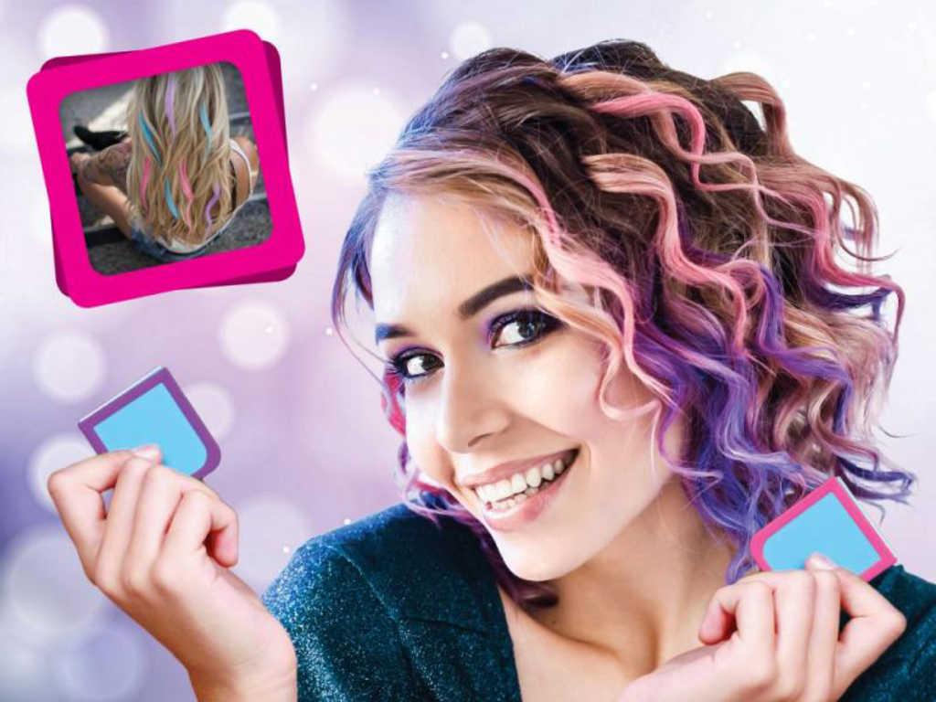 Křídy dětské na vlasy tropické barevné Tropical set 4ks v krabici