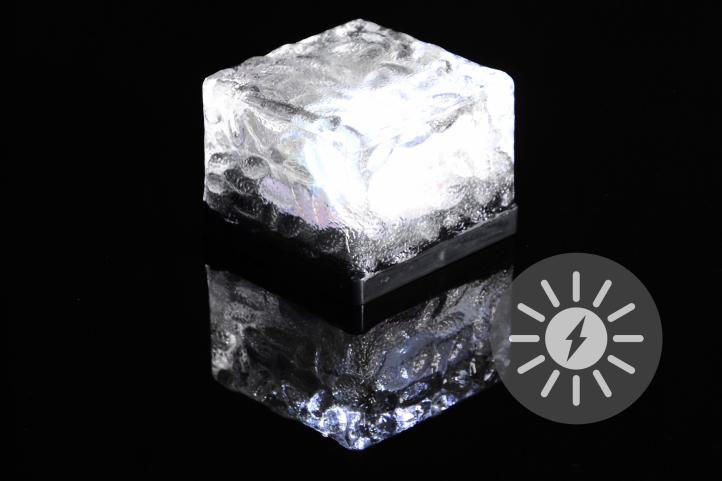 Venkovní solární osvětlení - skleněná kostka - bílá 7 x 7 x 5 cm