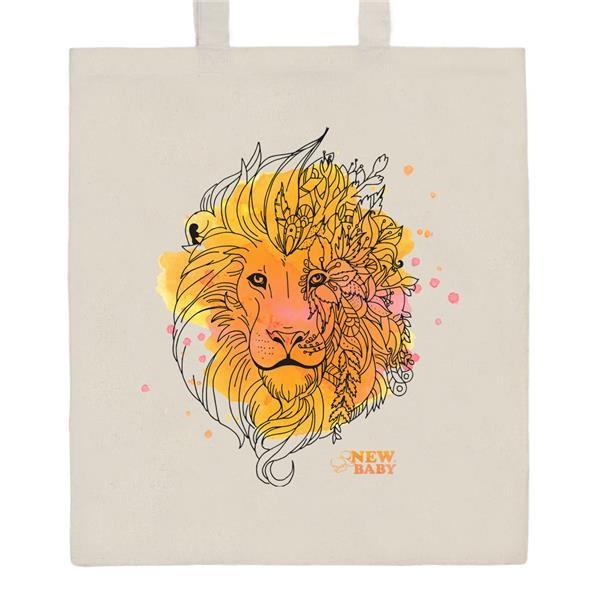 Bavlněná nákupní taška s potiskem New Baby Lev - přírodní