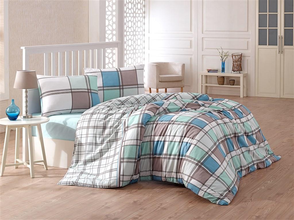Povlečení bavlna 140x200, 70x90cm Iris blue, Výběr zapínání:
