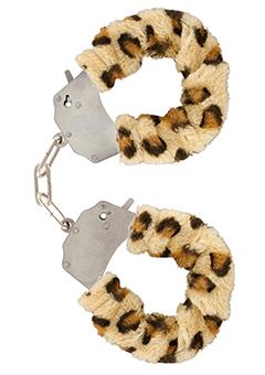 Kovová pouta na ruce s odnímatelným plyšem leopard
