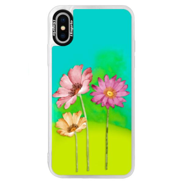 Neonové pouzdro Blue iSaprio - Three Flowers - iPhone X