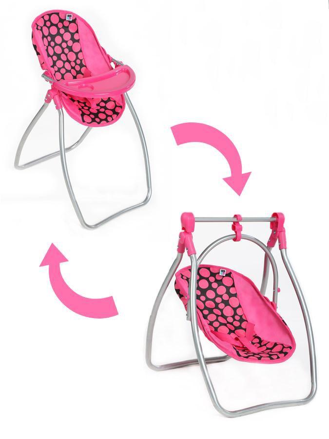 Jídelní židlička a houpačka 2v1 pro panenky PlayTo Isabella - dle obrázku