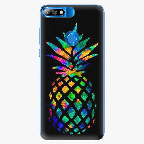 Silikonové pouzdro iSaprio - Rainbow Pineapple - Huawei Y7 Prime 2018