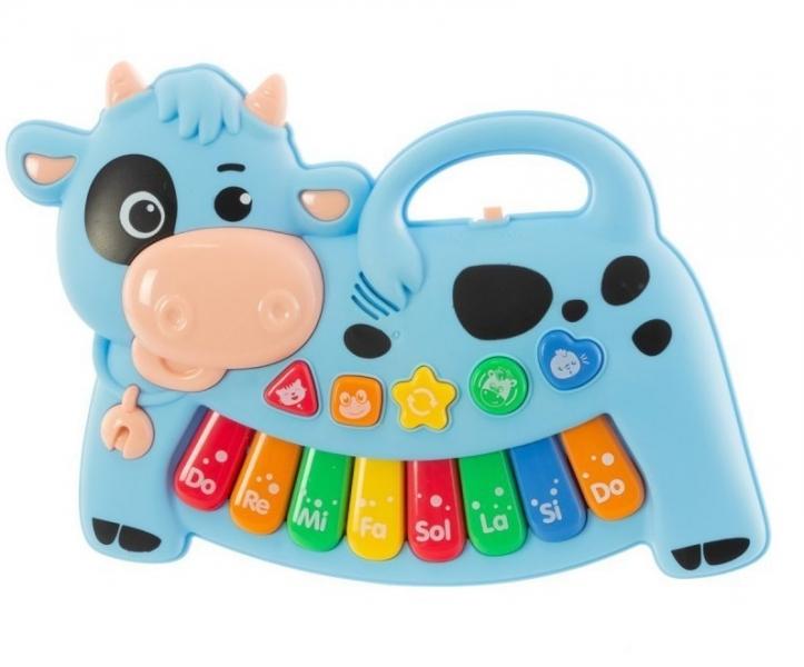 Euro Baby Interaktivní hračka s melodii pianko - Kravička, modrá