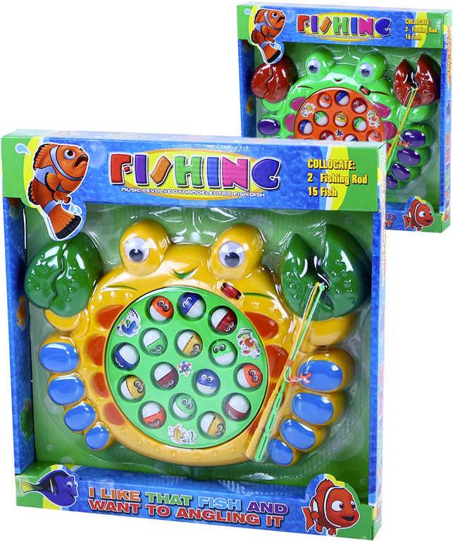 Hra na rybaření krab dětský rybolov na baterie s melodií v krabici - 2 barvy