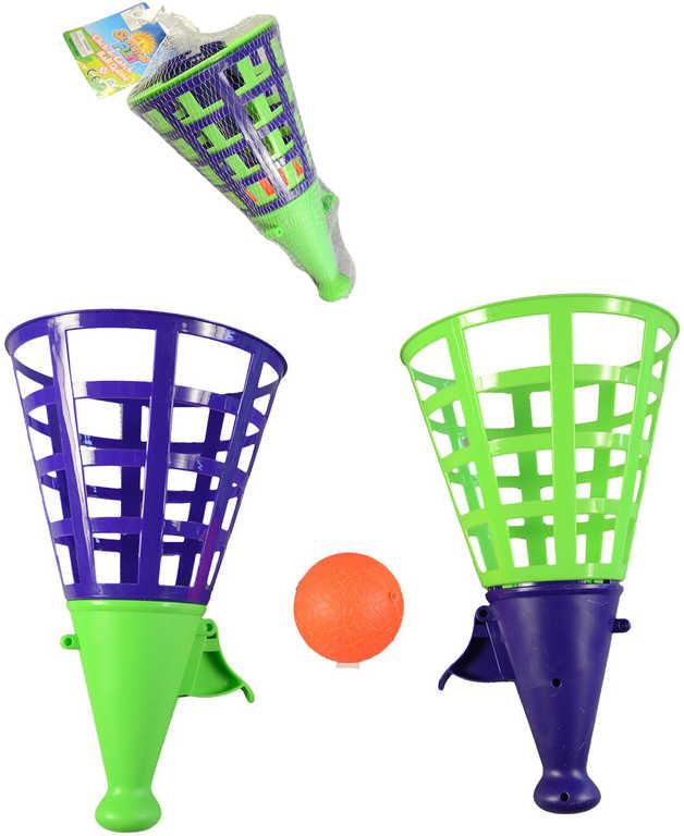 Hra Catch Ball 27cm set 2 košíky vystřelovací s míčkem zeleno-modrá plast