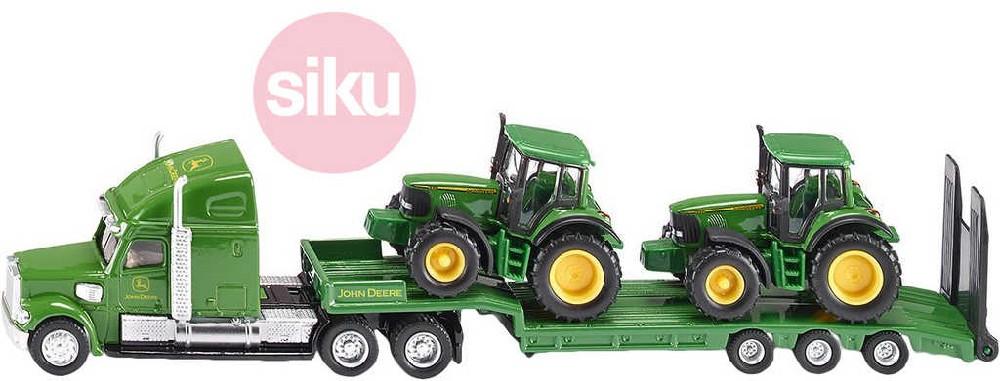 SIKU Farmer tahač 1:87 set s podvalníkem a 2 traktory John Deere model 1837