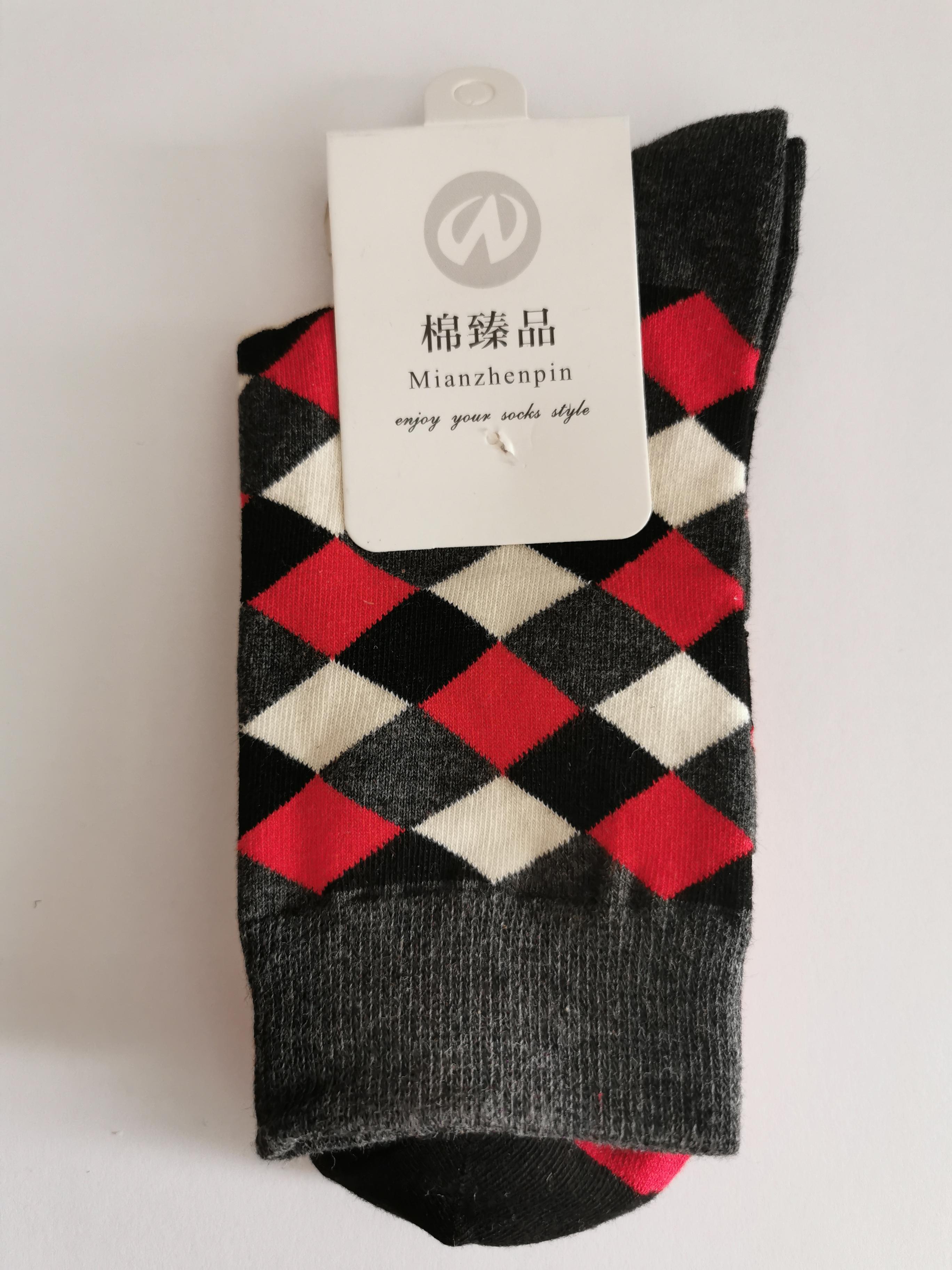 Ponožky s kostkovanými vzory - Černá s červeno-bílou