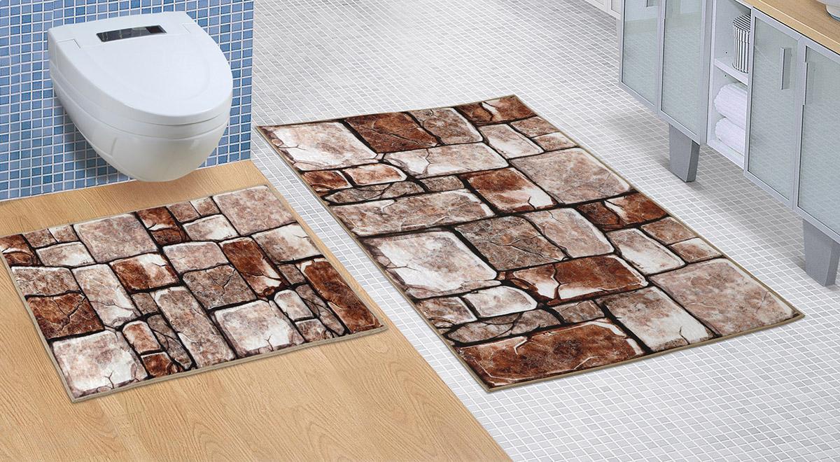 Koupelnová sada předložek 3D 60x100+60x50cm BEZ VÝKROJE kamenná dlažba