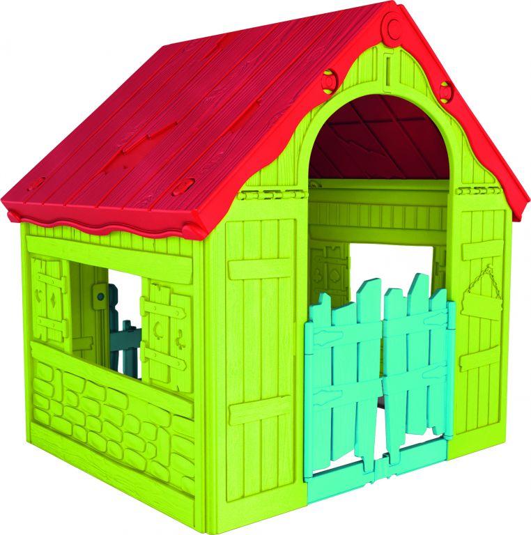 Keter dětský zahradní domek - plastový, červeno/zelený