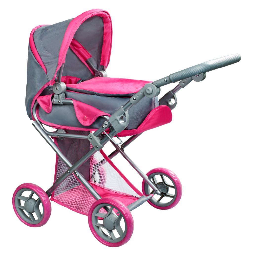 Multifunkční kočárek pro panenky PlayTo Elsa šedo-růžový - šedá