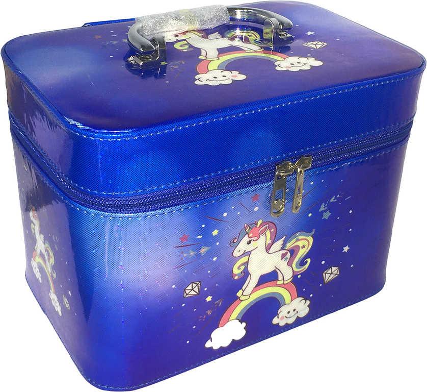 Kufřík dětský kosmetický set 3ks šperkovnice modrá jednorožec s ouškem na zip 3v1