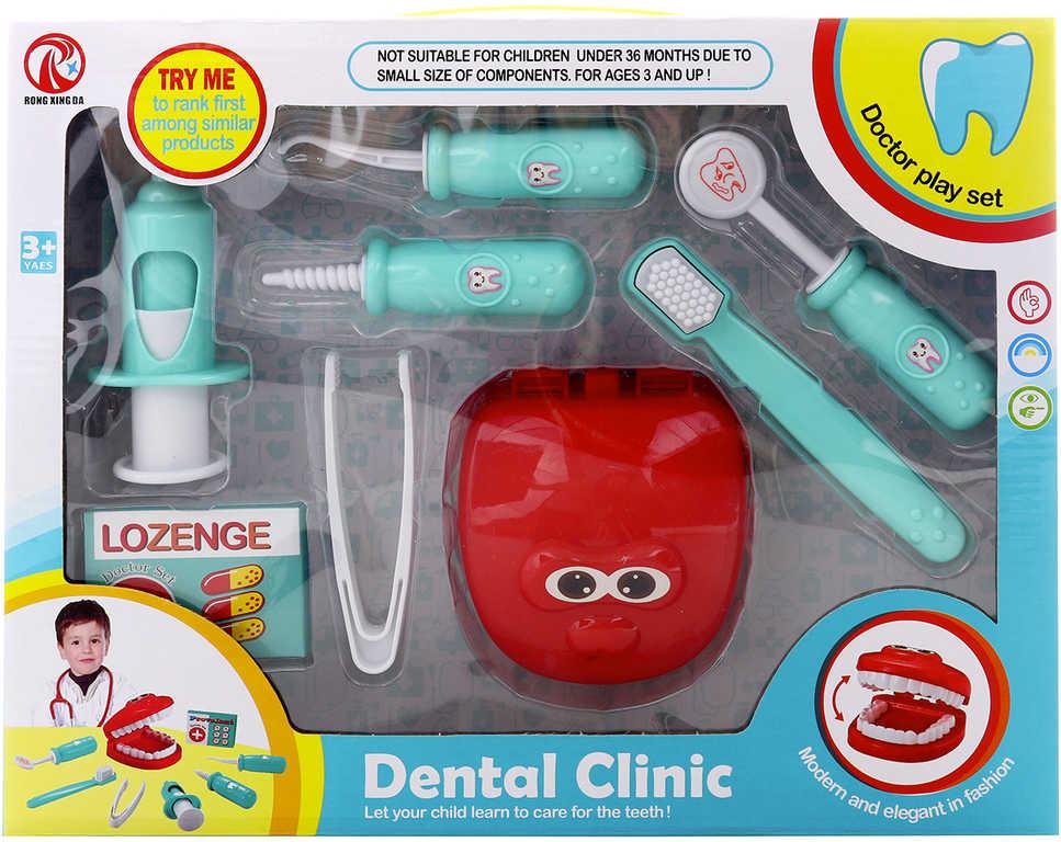 Zubní ordinace doktorský set dětské lékařeké potřeby 8 ks plast v krabici