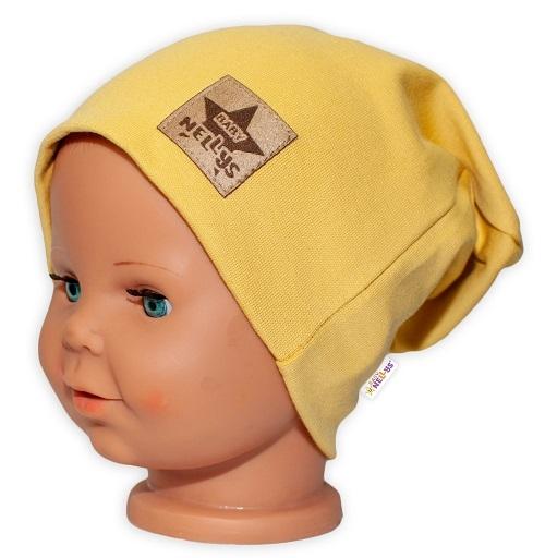 baby-nellys-hand-made-detska-funkcni-cepice-s-dvojitym-lemem-horcicova-obvod-52-54cm-52-54-cepicka-obvod