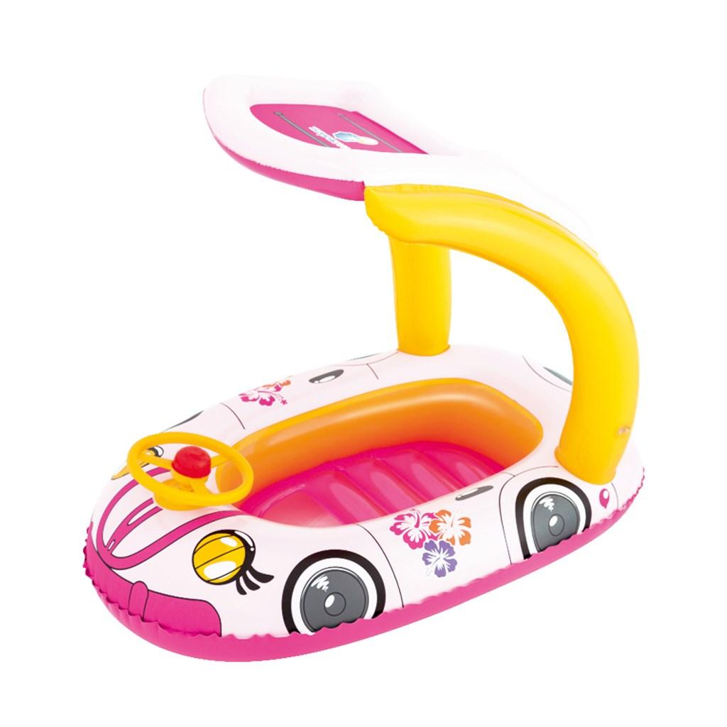 Dětský nafukovací člun se stříškou Bestway autíčko - růžová