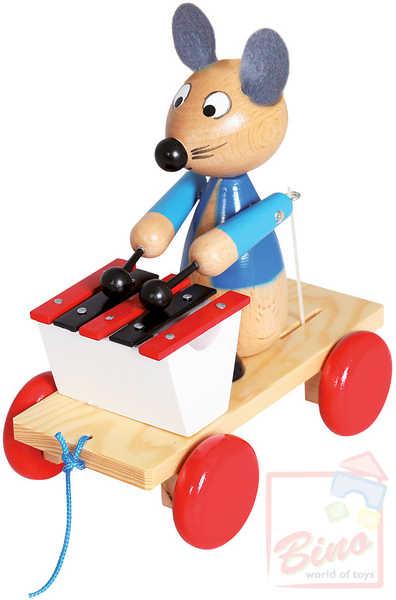 BINO DŘEVO Tahací Myš s xylofonem * DŘEVĚNÉ HRAČKY *