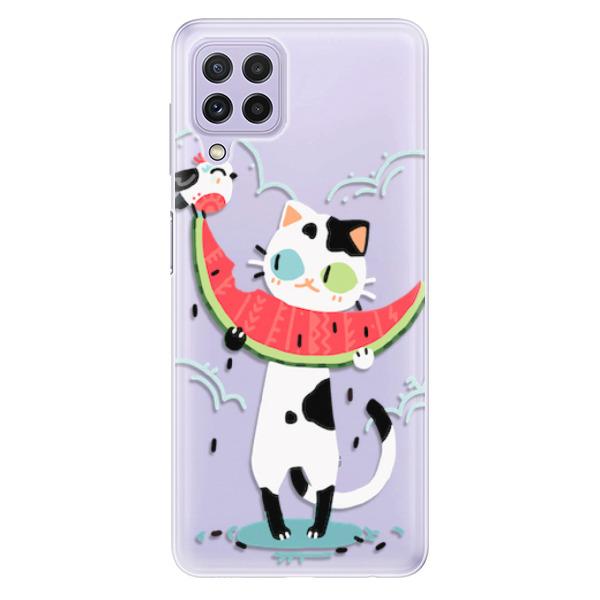 Odolné silikonové pouzdro iSaprio - Cat with melon - Samsung Galaxy A22