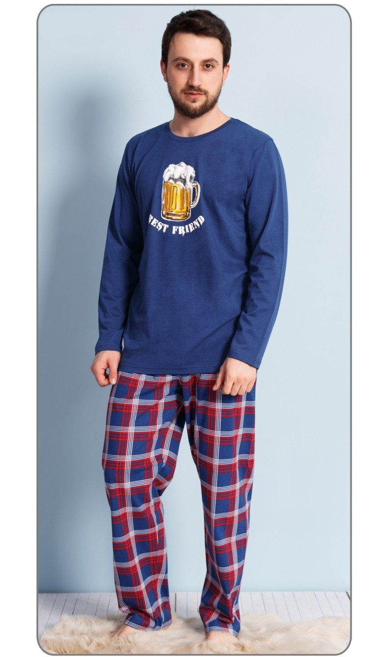 Pánské pyžamo dlouhé Velké pivo - Gazzaz - Tm.modro-červená/2XL