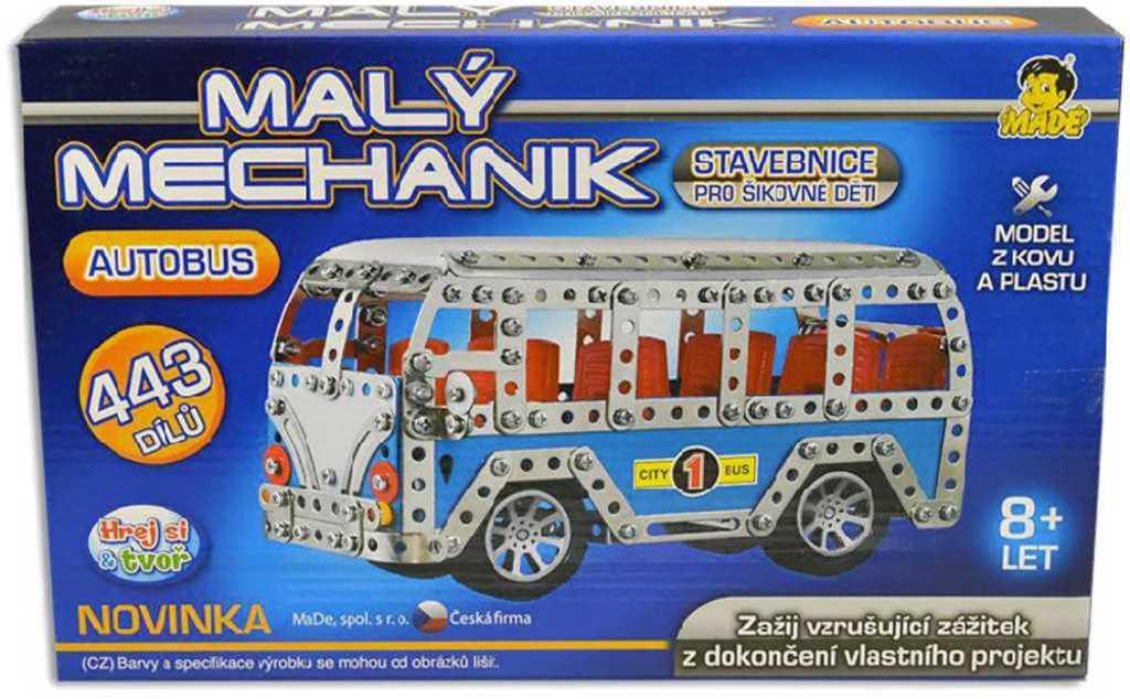 Malý mechanik Autobus 443 dílů Stavebnice typu Merkur v krabici