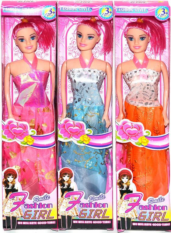 Panenka trendy 25cm stylové večerní šaty 3 druhy