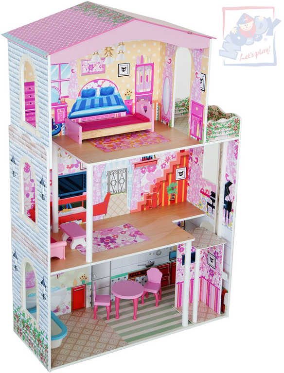 WOODY DŘEVO Domeček pro panenky velký 7ks s výtahem *DŘEVĚNÉ HRAČKY*
