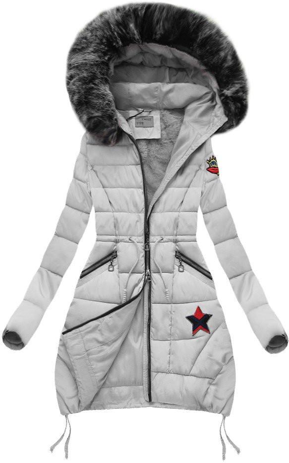 Šedá zimní bunda s kapucí (B3595) - Šedá/XXL (44)