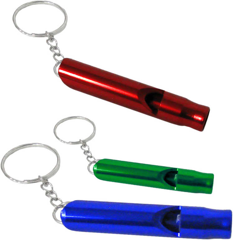 Klíčenka píšťalka 6cm kovová přívěsek na klíče 6 barev