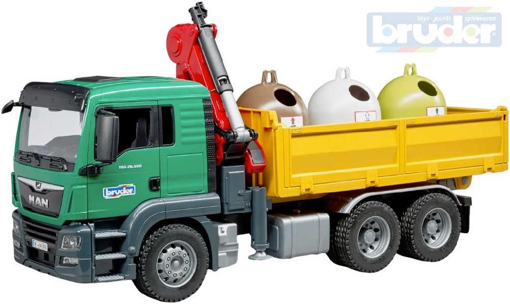 BRUDER 03753 Auto MAN TGS s nakládacím ramenem set se 3 kontejnery 1:16