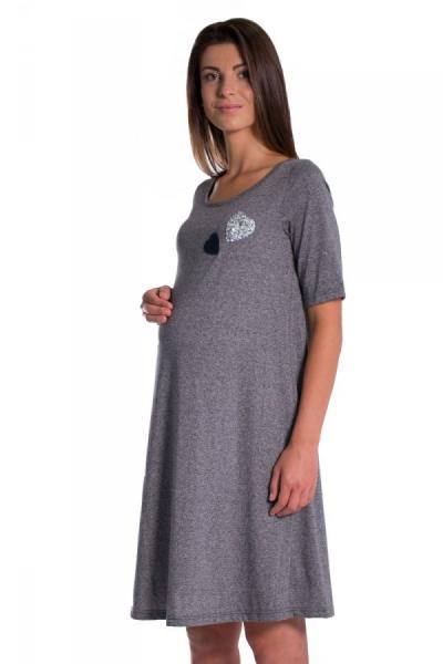 Letní, volné těhotenské šaty kr. rukáv