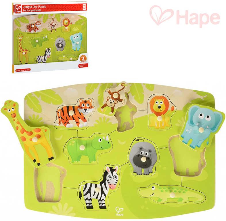 HAPE DŘEVO Baby puzzle vkládací zvířátka džungle 9 dílků na desce