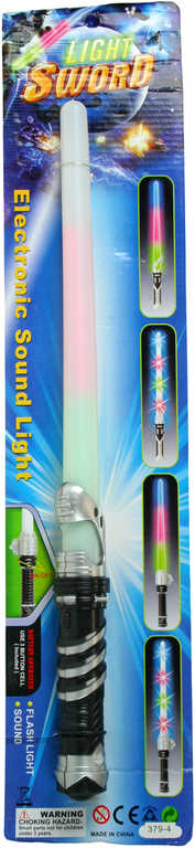 Meč světelný plastový 47 cm na baterie na kartě