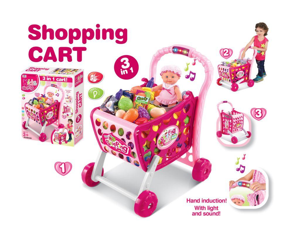 Hračka G21 Nákupní košík s melodií s příslušenstvím růžový
