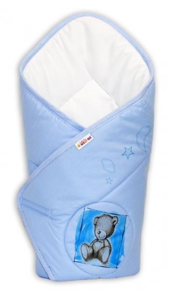 Baby Nellys Novorozenecká zavinovačka, 75x75cm, bavlněná Sweet Dreams by Teddy - modrá