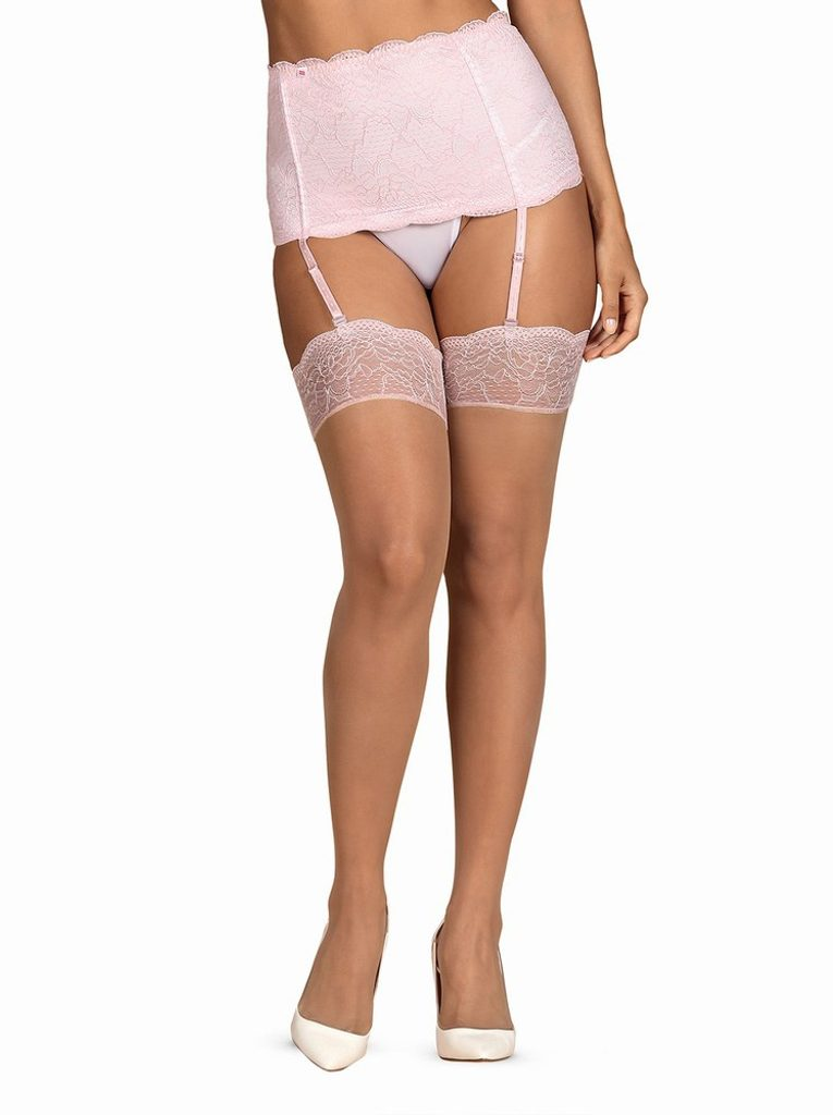 Sexy punčochy Obsessive Girlly stockings - Nude - L - XL