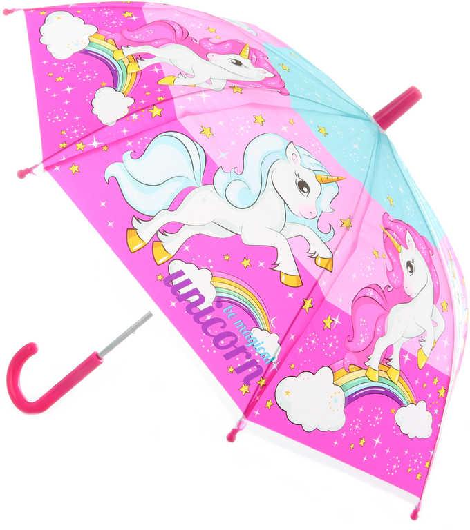 Deštník dětský jednorožci 60x60x60cm manuální otevírání