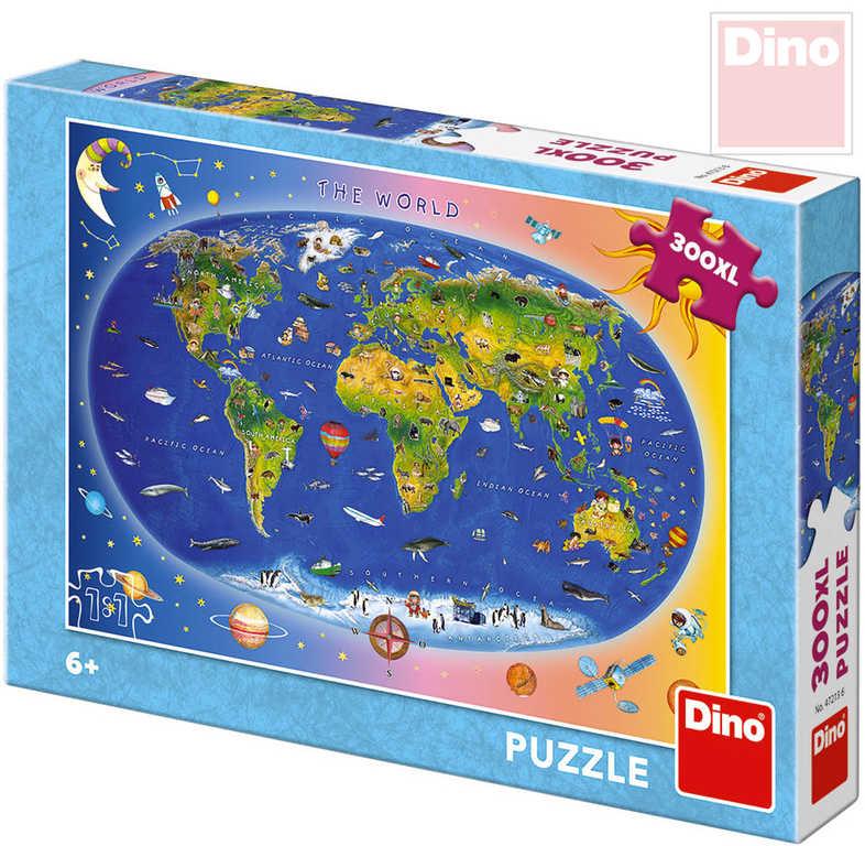 DINO Puzzle XL 300 dílků Mapa světa dětská 47x33cm skládačka v krabici