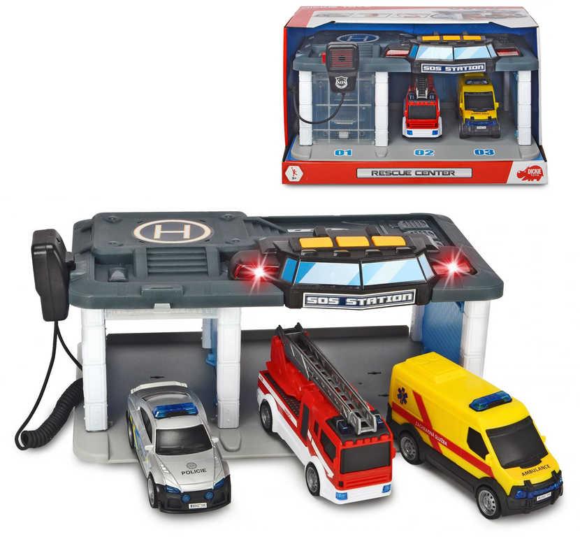 DICKIE Stanice SOS set se 3 auty volný chod na baterie CZ Světlo Zvuk
