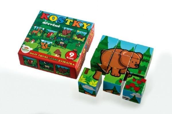 Kostky kubus dřevěné Moje první zvířátka lesní dřevo 9x9x3cm 9ks v krab.11x11x6cm od