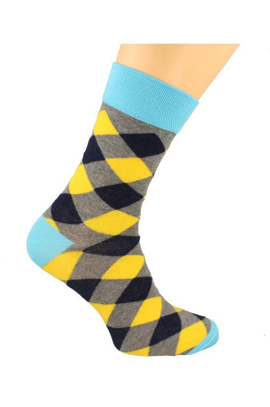Pánské ponožky Funny 80 - Skarpol - Modrá-žlutá-šedá/42-44