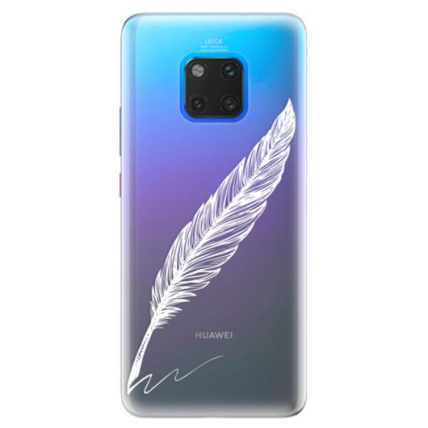 Silikonové pouzdro iSaprio - Writing By Feather - white - Huawei Mate 20 Pro