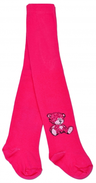 Bavlněné punčocháče Baby Nellys ® - Sweet Teddy - sytě růžové, vel. 104/110 - 104/110