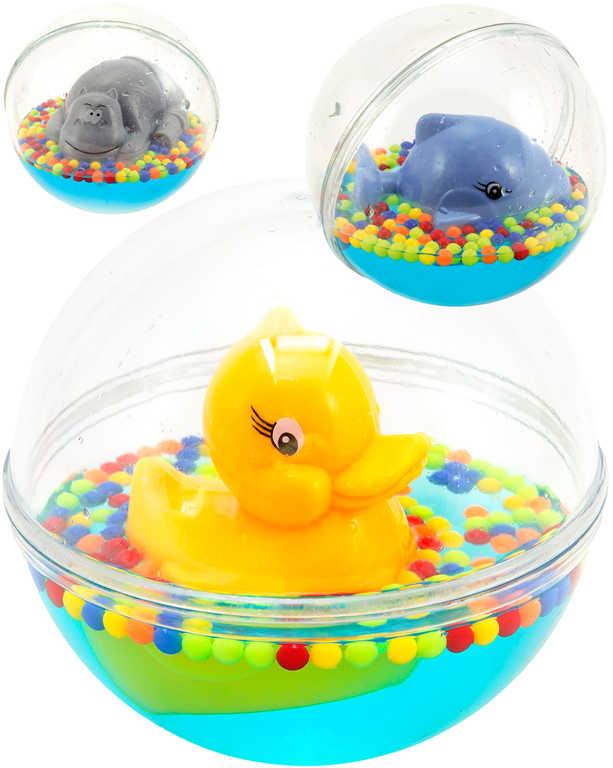 Baby zvířátko plovoucí v kouli 12cm ve vodě s kuličkami 3 druhy pro miminko