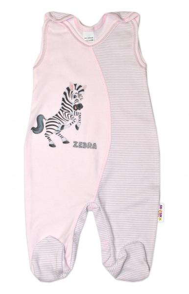 Baby Nellys Kojenecké bavlněné dupačky, Zebra - růžové, vel.