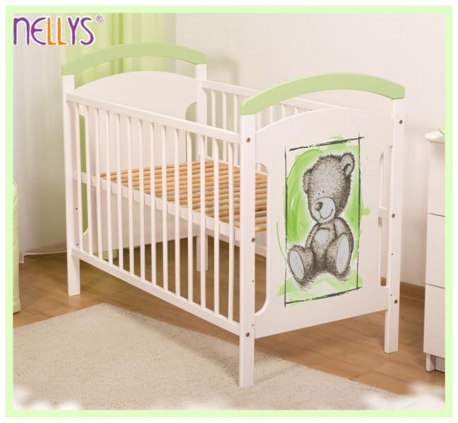 Dřevěná postýlka Teddy Nellys - zelená/bílá - 120x60