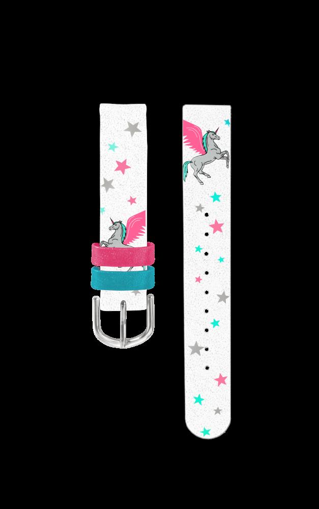 Bílý řemínek s jednorožcem k dětským hodinkám CLOCKODILE